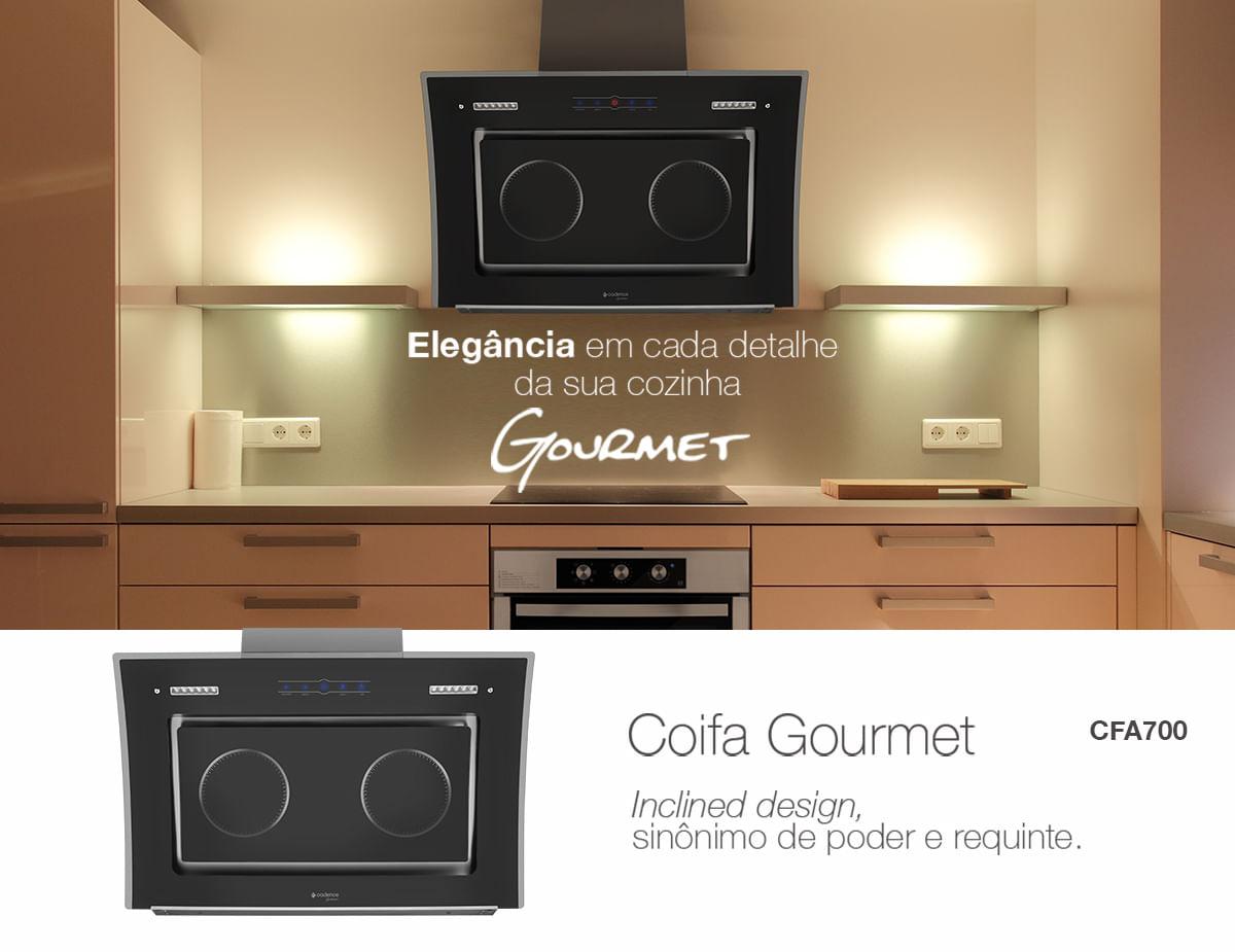 Coifa Inclinada Gourmet Cadence Inox 90cm Com Touch Cadence