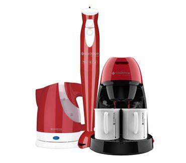 Kit-Cadence-Colors-Vermelho---Cafeteira---Mixer---Chaleira
