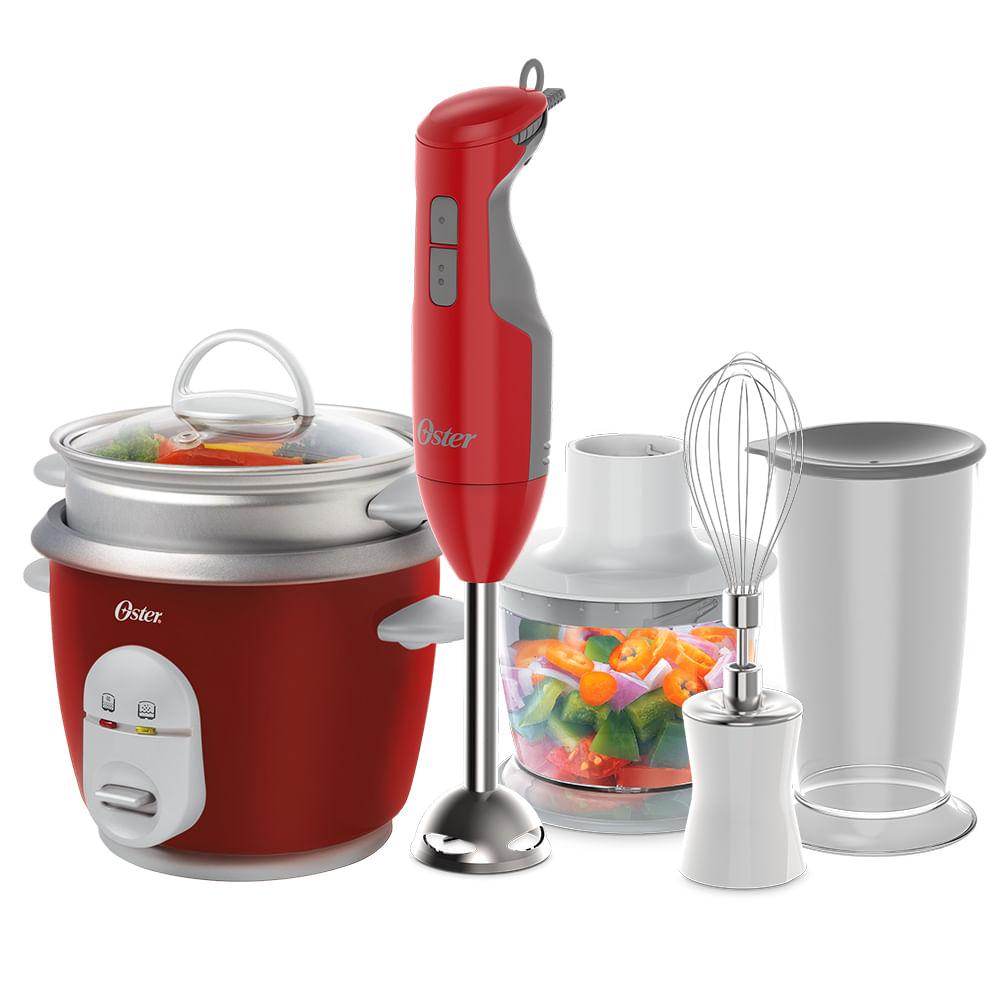 Kit Mixer Delight Vermelho e Panela Facile Oster