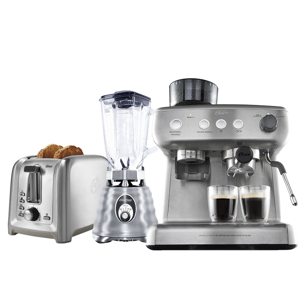 Kit Inox Perfect - Cafeteira Espresso - Liquidificador - Torradeira Oster