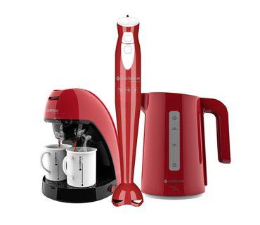 Kit-Cadence-Colors-Vermelho-Cafeteira-Mixer-Chaleira