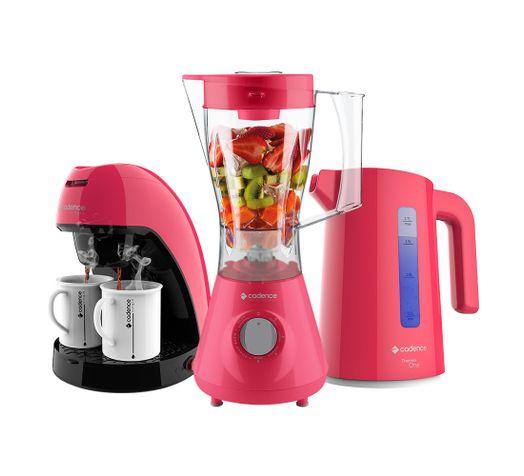Kit-Cadence-Colors-Rosa-Doce-Liquidificador-Chaleira-Cafeteira