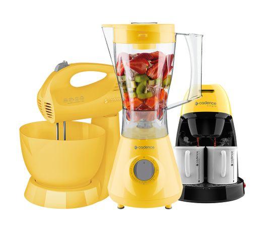 Kit-Cadence-Colors-Amarelo-LiquidificadorBatedeiraCafeteira