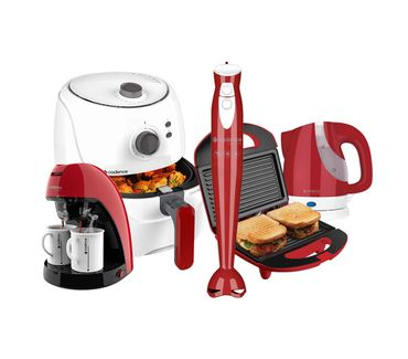 Kit-Cadence-Colors-Vermelho-e-Branco-Cook-Fryer