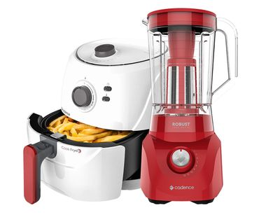 Kit-Cadence-Red-White-Fritadeira-Sem-Oleo-e-Liquidificador-Robust