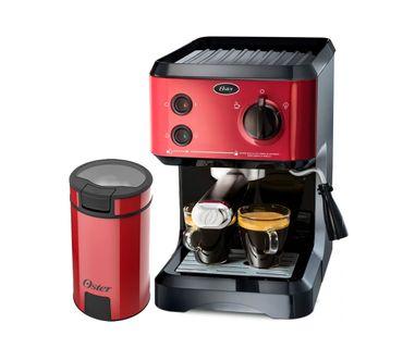 Kit-Cafeteira-Expresso-Cappuccino-e-Moedor-de-Cafe-Oster-Red
