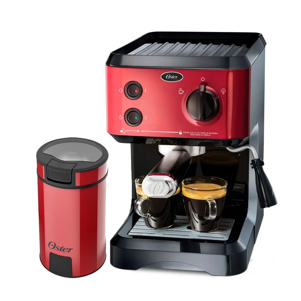 Kit Cafeteira Expresso Cappuccino e Moedor de Café Oster Red