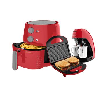 Kit-Cadence-Colors-Vermelho-Fritadeira-Cafeteira-Sanduicheira